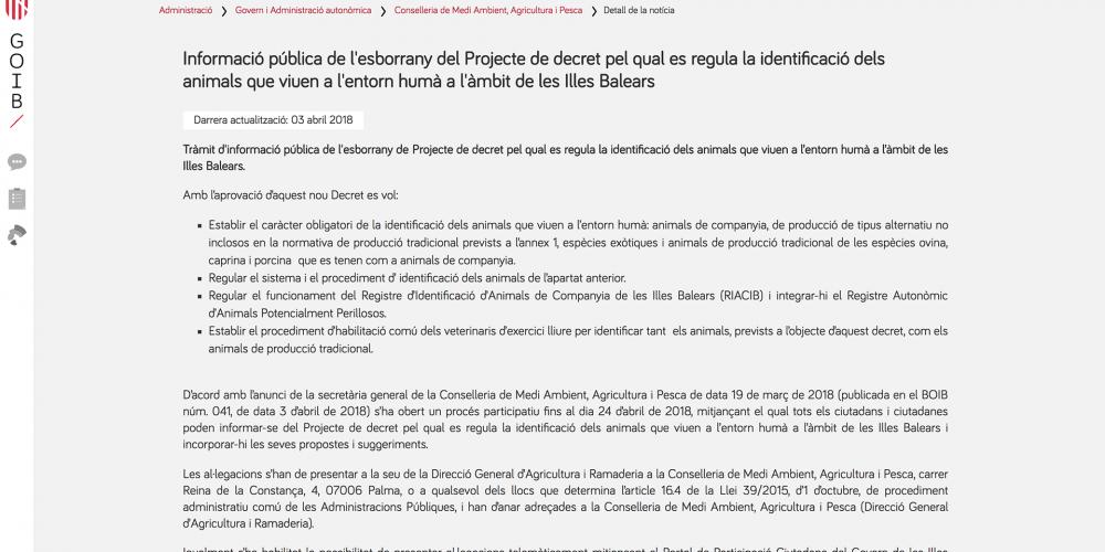 Informació pública de l'esborrany del Projecte de decret pel qual es regula la identificació dels animals que viuen a l'entorn humà a l'àmbit de les Illes Balears