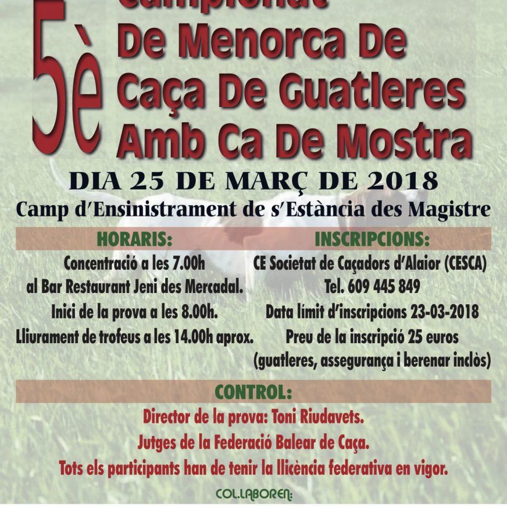 Arriba el Cinquè Campionat de Menorca de Caça de Guatleres amb Ca de Mostra