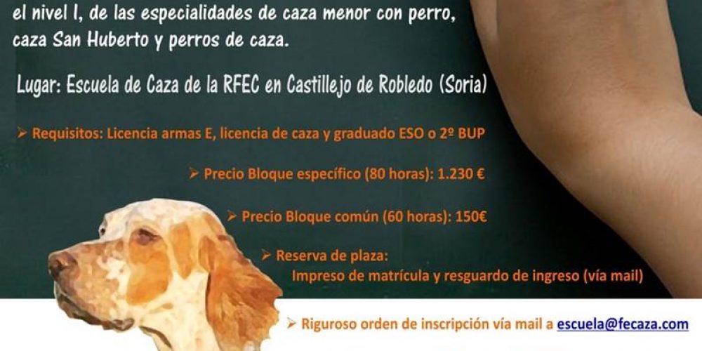 ¡Ya puedes apuntarte al curso de 'Monitor Deportivo-Adiestrador de Perros de Caza' de la Escuela Española de Caza!