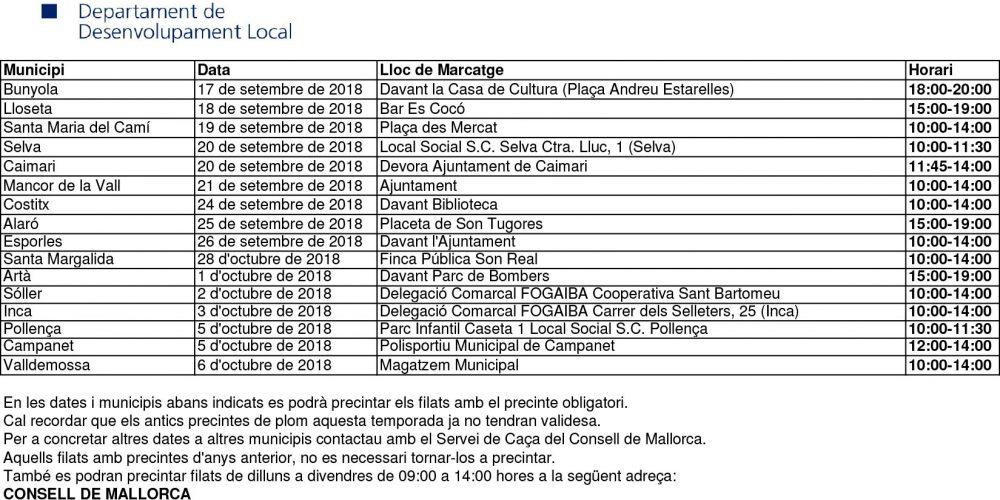 Calendario para precintar filats