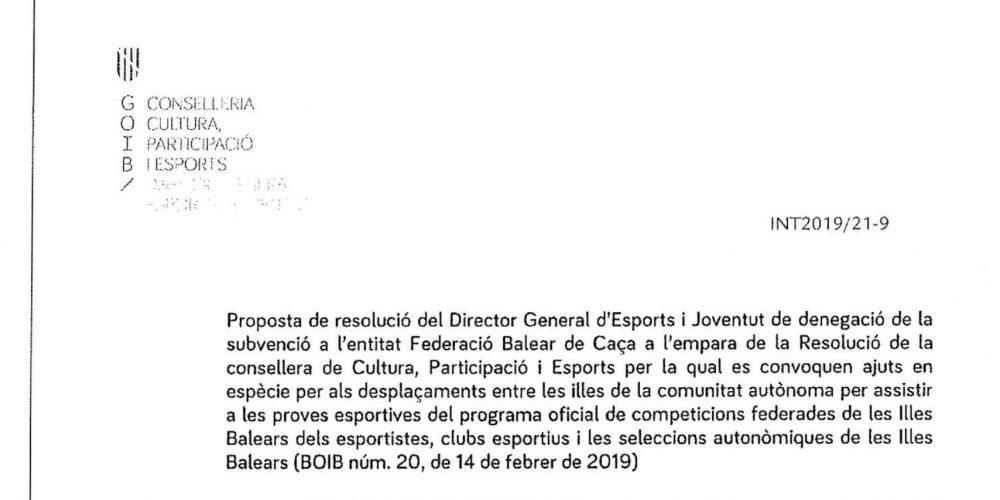 El Govern balear deniega a la Federación la subvención de transporte para la prueba de San Huberto en Menorca