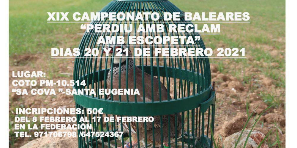 """Los días 20 y 21 de febrero se celebrará el XIX Campeonato de Baleares de """"perdiu amb reclam amb escopeta"""""""