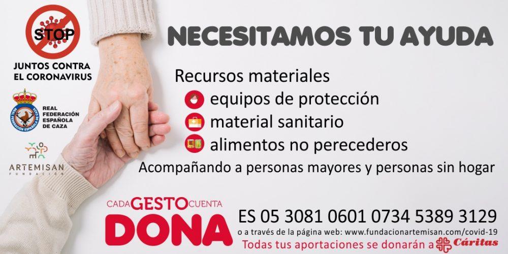 La Real Federación Española de Caza y Fundación Artemisan inician una campaña de recogida de fondos para el proyecto «Cáritas ante el Coronavirus»