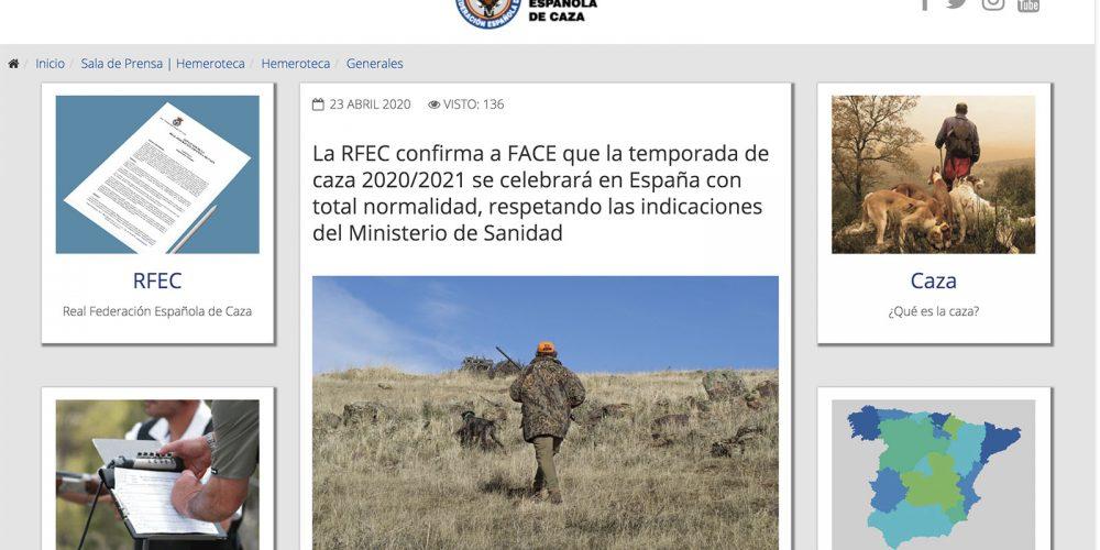 La RFEC confirma a FACE que la temporada de caza 2020/2021 se celebrará en España con total normalidad, respetando las indicaciones del Ministerio de Sanidad